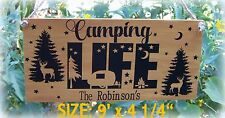 CAMPING LIFE SIGN PERSONALIZED HAPPY CAMPERS CAMPSITE CAMP TRAILER FAMILY NAME