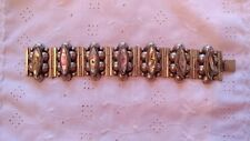 Vintage Mid Century Mexico Sterling Silver Link Panel Bracelet Abalone Inlay 62g