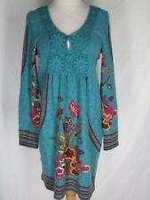 Ayreh Turquoise Sweater Dress M Crochet Trim Flowers Stripes