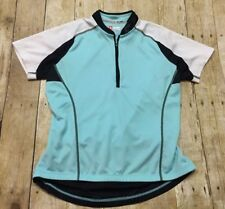 Specialized Cycling Jersey Womens Large Aqua Blue Teal Form Fit Quarter Zip 1/4
