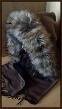 Kapuzenschal Echt Pelz Kapuzenstreifen Echtfell Raccoon Schalmütze Fell Schal