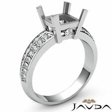 Pave Set Diamond Engagement Women Ring 14k White Gold Princess Semi Mount 0.3Ct