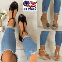 US Women Summer Pom Pom Espadrilles Peep Toe Flat T Bar Pumps Sandals Shoes Size