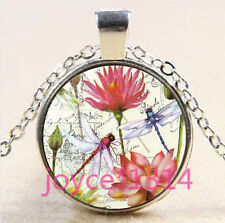 Vintage Dragonfly Cabochon Tibetan silver Glass Chain Pendant Necklace #3614