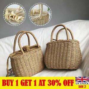 Retro Wicker Women Handbag Bags Totes Summer Beach Woven Straw Rattan Baskets