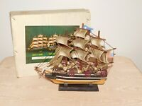 "VINTAGE 11 1/2"" HIGH 13 1/2"" WIDE RED JACKET MODEL PIRATE SAILING SHIP in BOX"