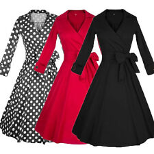 Womens Housewife Floral Polka Dot Swing 50s 60s Rockabilly Lapel Collar Dress