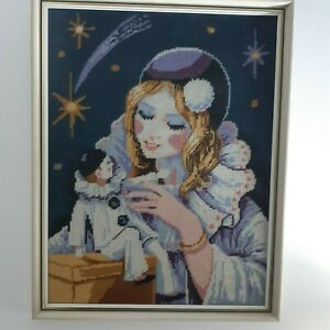 Vintage framed tapestry of girl in a clown outfit with toy clown embroidery 60s