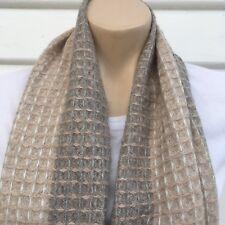 Grey Hand Knitted 100% Pashmina Cashmere Shawl Stole Scarf Neck Wrap Muffler
