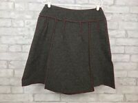 Beebop & Wally New York Skirt Charcoal Gray Wool Blend Red Top Stitch Size Large