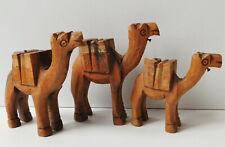 3 vintage olive wood camels figurines animal ornaments Judaica Holy Land Israel