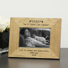Daddy Our 1st Father's Day Together Wood Frame 6x4 Personalised Gift Present Portrait