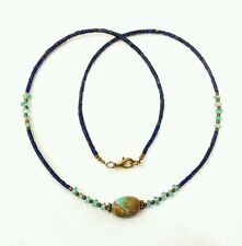 Afghan Natural Tiny Lapis Lazuli, Turquoise Seed Small Beads Necklace Handmade
