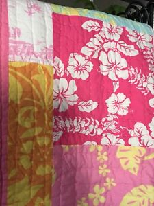 Pottery Barn Kids Girl's Pink Patch work Quilt Beach & Floral Full Blanket 89X73