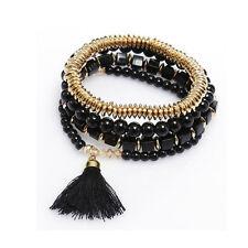 Exquisite Multilayer Beaded Tassel Elastic Charm Bracelets Jewelry for Ladies