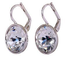 Swarovski Elements Crystal Brilliance Round Bella Pierced Earrings Rhodium 7167u