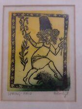 Helen Siegl Philadelphia Artist Wood Block Print  SPRING-MAID  Rare Print