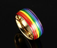 Men/Women's Fashion Wedding Band Size7-12 Stainless Steel Polishing Rainbow Ring