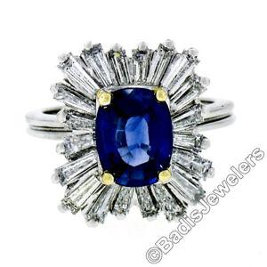 Vintage Platinum 3.43ctw AGL Cushion Sapphire & Diamond Ballerina Cocktail Ring
