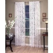 "Lace Curtains White Vintage Style Lace Sheers  60"" W x 72"" L 2 Panels Easy Care"