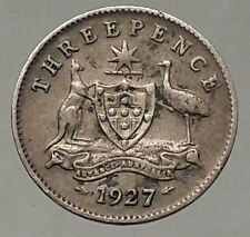 1927 AUSTRALIA Silver THREEPENCE Coin with UK King George V Coat-of-Arms i57827