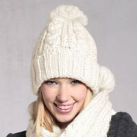 Fashion Women Knitted Wool Scarf and Beanie Hat Pompom Cap Set Warm Winter Scarf