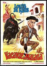 VACANZE A MALAGA MANIFESTO CINEMA CORRIDA TORO DE FUNES 1958 MOVIE POSTER 2F