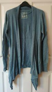 Fat Face Drape Cardigan Size 12 Dusky Blue Cotton/Modal