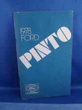 1978 FORD PINTO CAR OWNERS MANUAL HANDBOOK MAINTENANCE INFORMATION