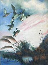 Envolée de canards peinture début XXe signée LA Gnocca Canard Chasse écologie