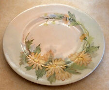 """Vintage Porcelain Plate Wall Hanging Art Pink Daisy Flowers Green Leaves 8"""" Old"""