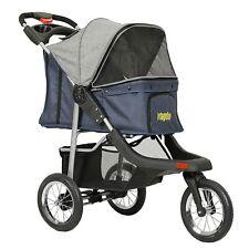 Premium Heavy Duty Pet Stroller 3-Wheel Cat Dog Stroller Foldable Link Brake