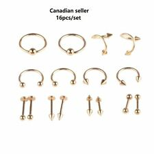 16pcs Nose Lip Ring Navel Ring Earring eyebrow Stainless Steel Body Jewelry