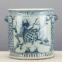 """NEW 10"""" BLUE AND WHITE CHINESE ORIENTAL PORCELAIN PLANTER W/ FOO DOG HANDLES"""