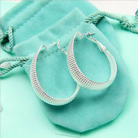 Wholesale Women Jewelry 925 Sterling Silver Plated Scallop Hoop Dangle Earring