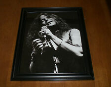 Janis Joplin Framed Close Up B&W Print Singing