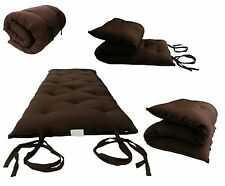 Brown Queen Size 3x60x80 Traditional Japanese Floor Rolling Futon Mattress Bed