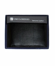 Men's Black Plain Bi-Fold Genuine Leather Wallet (MGLW518BK)