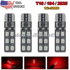 4x Red Canbus Error Free T10 LED 12-SMD Wedge Light Bulb W5W 168 194 2825 501
