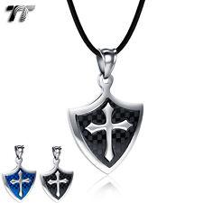 TT Stainless Steel Cross Shield Pendant Necklace Blue/Black (NP332) NEW