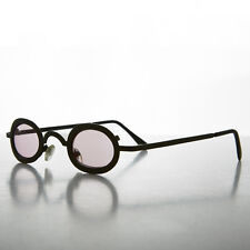Oval Victorian Steampunk Spectacle Sunglass with Pink Color Lenses - Desert