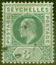 More details for seychelles 1903 3c dull green sg47a dented frame fine used