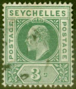 Seychelles 1903 3c Dull Green SG47a Dented Frame Fine Used