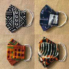 Handmade 3D Face Mask Wide Open Filter Pocket Nose wire100%Cotton African Print
