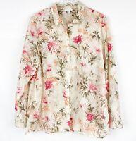 J Jill Silk Cotton Top Sz Large Lightweight Floral Long Sleeve Collar Button EUC