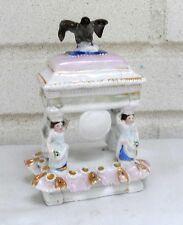 Stunning Wonderful Antique Trinket Box Eagle on Lid  Four Ladies Holding Up