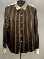 Lauren Ralph Lauren Womens 100% Silk LS Button Down Size 6 Brown Striped Blouse