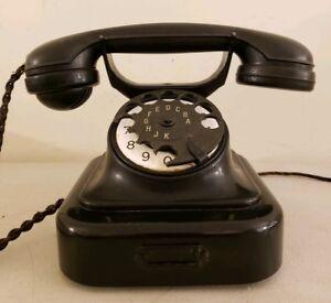 Antique 1920's SIEMENS W28 Art Deco German Iron Bakelite Rotary Dial Telephone