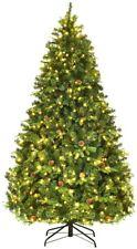 Costway Sapin de Noël Arbre de Noël Artificiel avec Lumières LED 210/225/240cm