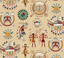 Fabric Native Indian Zuni Symbols Totem Cream Cotton by Elizabeth 1/4 yard
